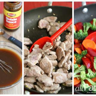 Easy Pork Stir-fry With Vegetables And Hoisin Sauce.