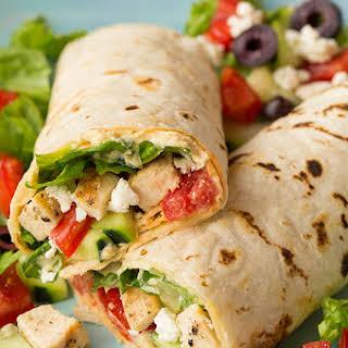 Greek Grilled Chicken & Hummus Wrap.