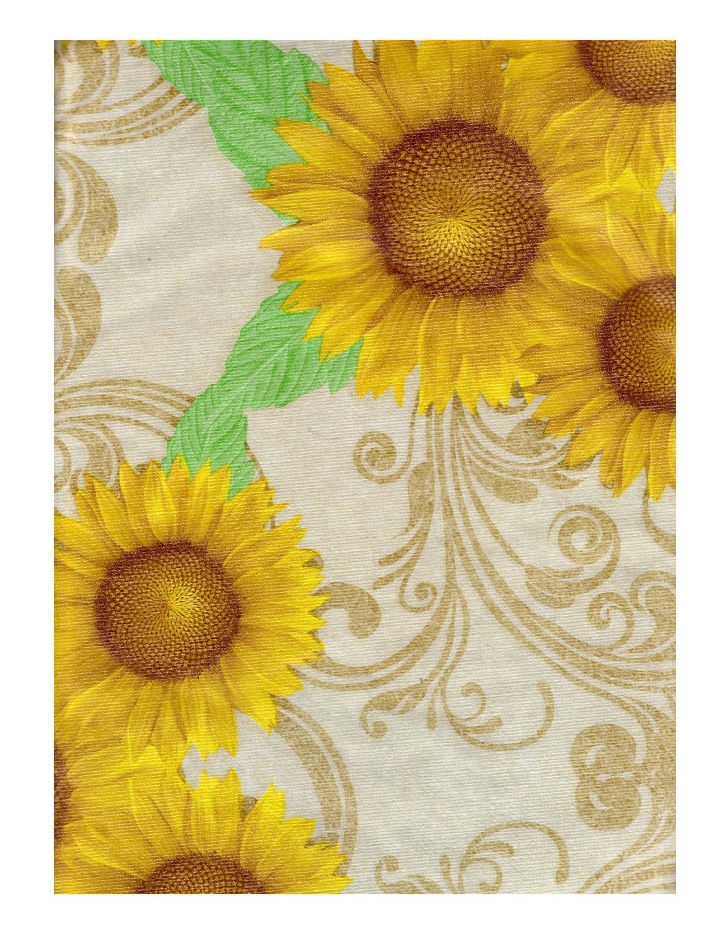 Sunflower Vinyl Tablecloth With Flannel Backing Ed Table Cover Elastic Around The Edge To Hold It In Place 60 Round