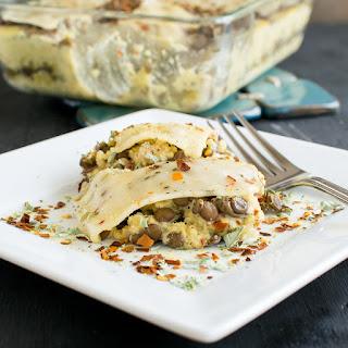 Cheesy Lentil Quinoa Vegan Casserole.