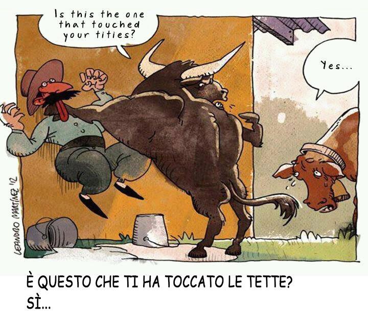 un toro appende al muro il contadino e chiede alla vacca: è questo che ti ha toccato le tette? Lei mesta risponde: sì
