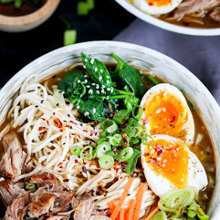 Spicy Pork Ramen Noodle Soup.