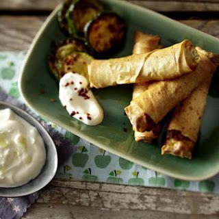 Feta Cheese Börek with Garlic Yogurt Dip.