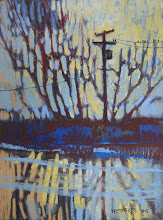 Photo: Delta Series, Blue and Gold, pastel by Nancy Roberts, copyright 2014. Private collection.