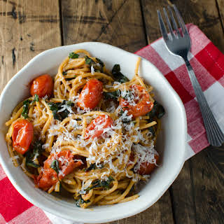 Slow-Roasted Tomatoes and Garlic with Basil Whole-Wheat Pasta and Parmesan.