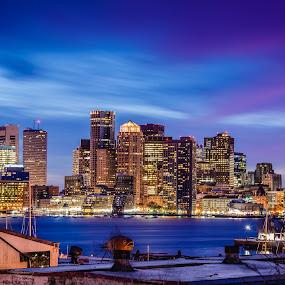 Boston Colors by Brad Kalpin - City,  Street & Park  Skylines ( water, skyline, boston, industrial, waterscape, blue hour, sunset, buildings, landscape, city )