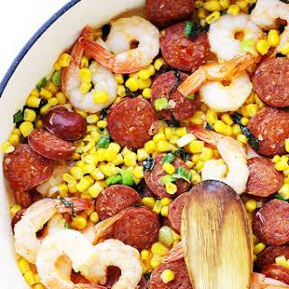 Shrimp, Chorizo and Corn Skillet.