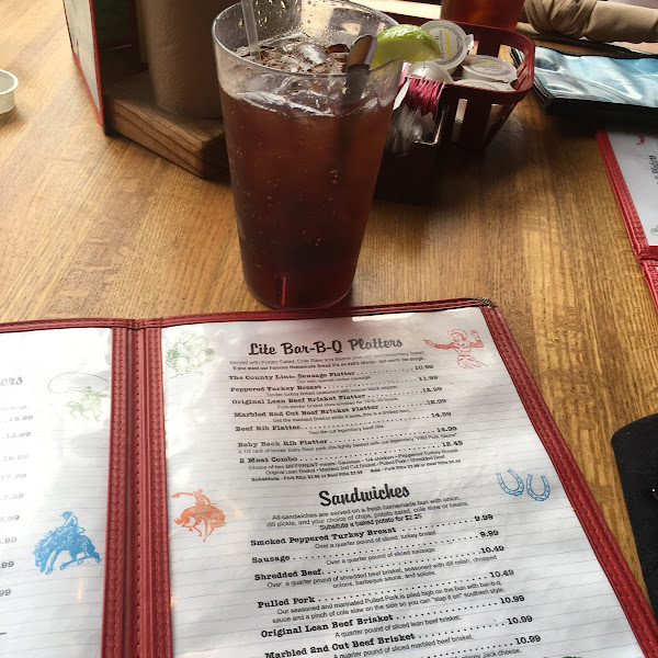 Lite menu with ice tea