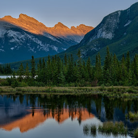 Mt Rundle Alpenglow by Peter Luxem - Landscapes Mountains & Hills ( vermilion, mt rundle, rundle, reflection, alberta, canada, canadian rockies, sunset, alpenglow, rockies, vermilion lake, banff )