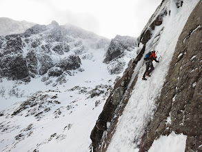 """Photo: Andy Owen leads """"The Curtain"""", IV, on Ben Nevis."""