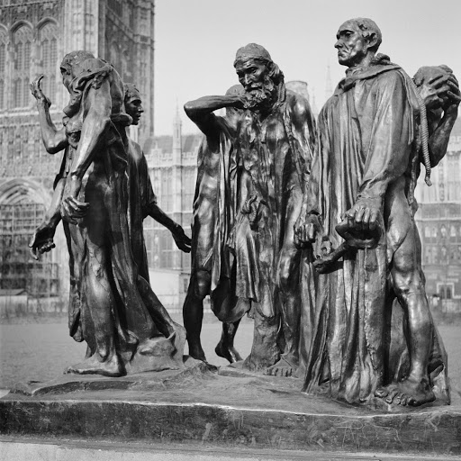 'Burghers of Calais' sculpture, Victoria Tower Gardens, Millbank, Westminster, Greater London
