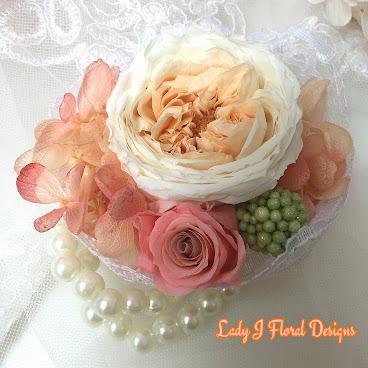 🌺珊瑚色系庭園玫瑰蕾絲珍珠手花🌺