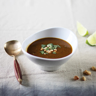 Black Bean & Pumpkin Soup with Peanuts & Lime
