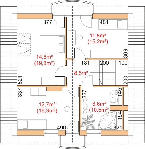 Dom przy Cyprysowej 16 - Rzut poddasza