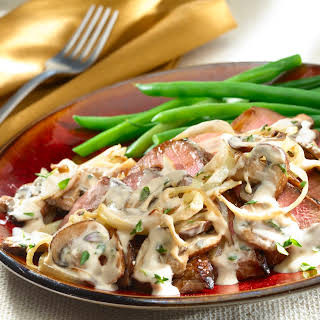 Creamy Balsamic Steak with Onions and Mushrooms.