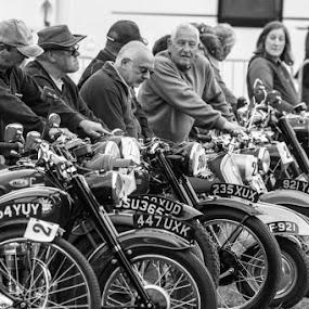 The gathering  by Jenna Keyes - Transportation Other ( rally, motorbikes, vintage, wheels, mono )