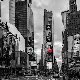 Times Square by Chris Montcalmo - City,  Street & Park  Street Scenes ( new york city, city, street, manhattan, nyc, times square, architecture, traffic )