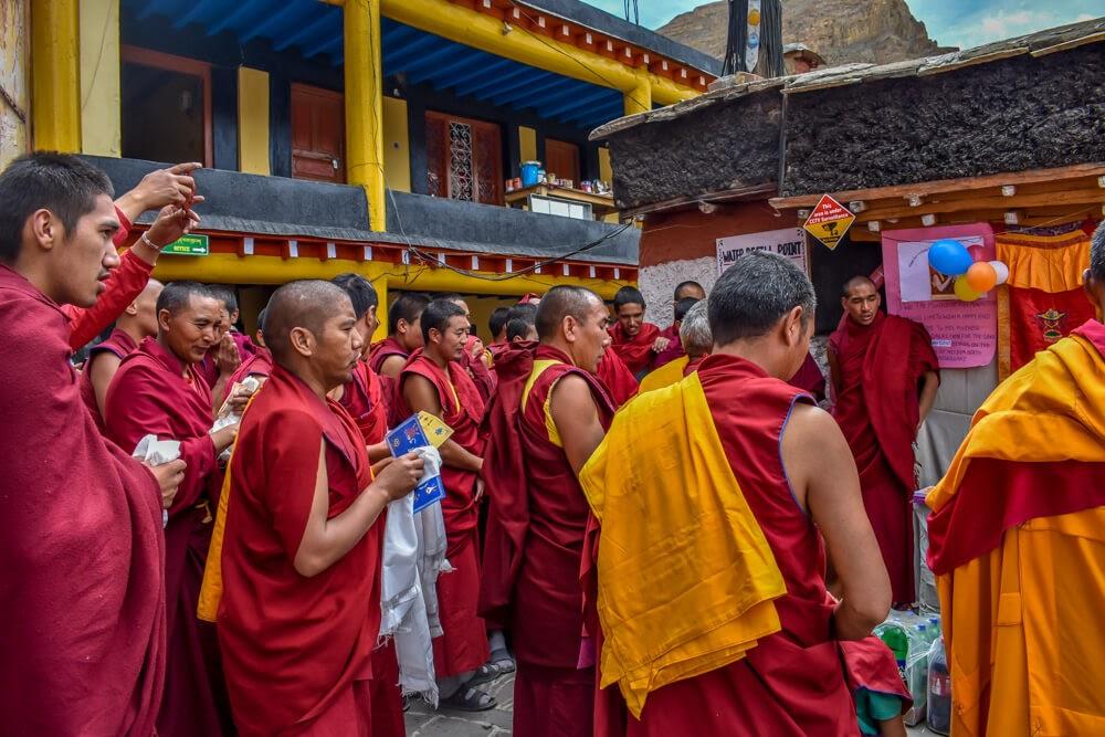 monks+praying+dalai+lama+birthday+key+Spiti+monastery