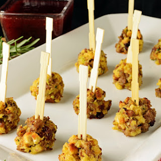 Sausage and Stuffing Balls with Cranberry Dipping Sauce