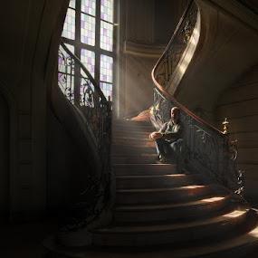 Self Shot at Du Loup by Niki Feijen - People Portraits of Men ( stairs, stairwell, self, lightray, shot, light, portrait )