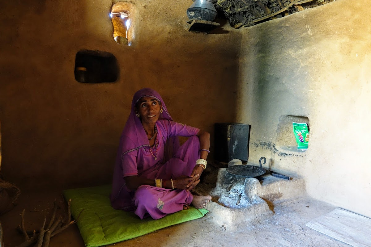 India. Rajasthan Thar Desert Camel Trek. Inside the summer house kitchen