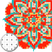 Mandala coloring - Color by number pixel art icon