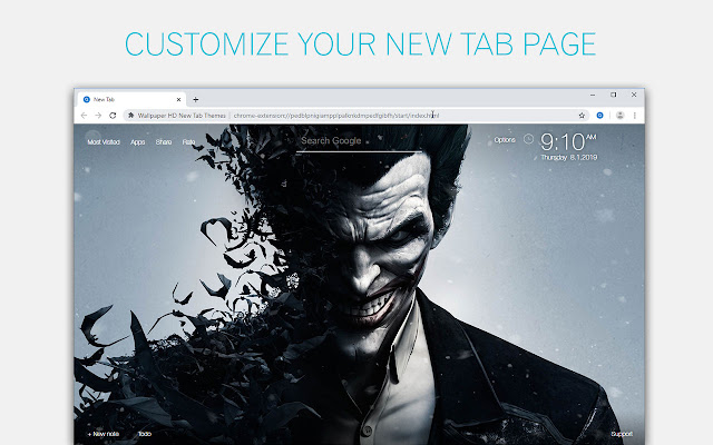 Joker Wallpapers HD New Tab by freeaddon.com