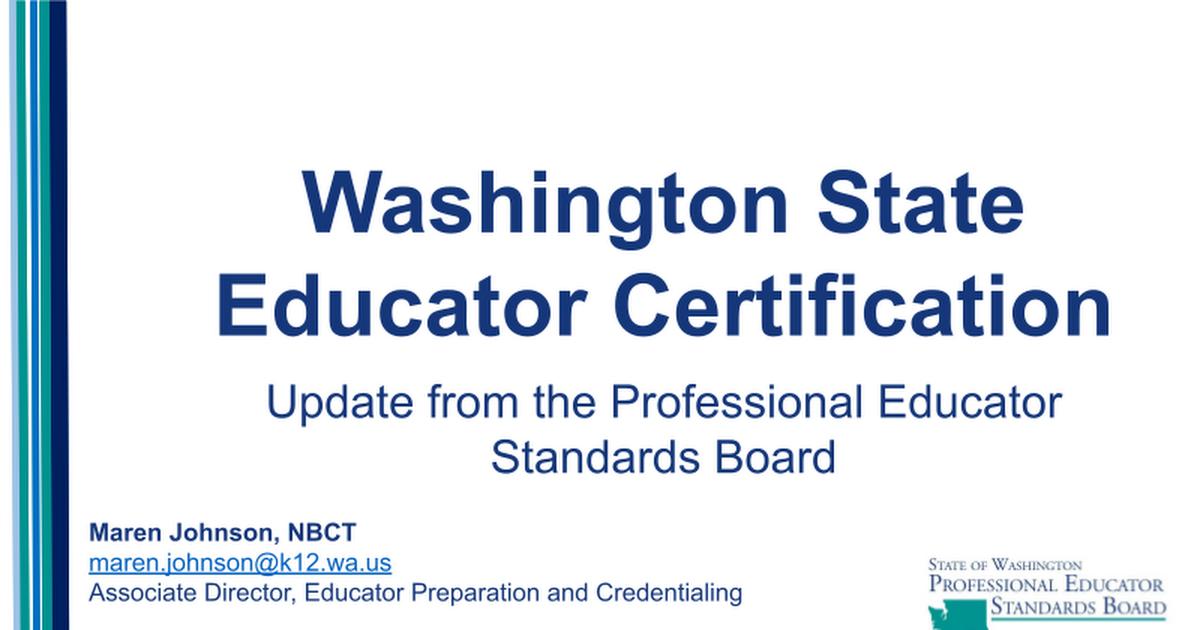 PESB Certification Update - Google Slides
