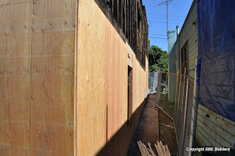 Photo: Crawl space and basement shear wall plywood.