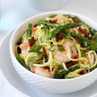 """Zucchini """"Pasta"""" Carbonara with Shrimp."""