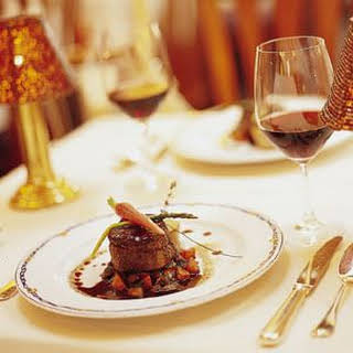 Beef Tenderloin with Bordelaise Sauce, Caramelized Carrots and Shallots.