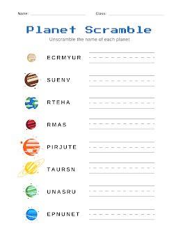 Planet Scramble - Worksheet item