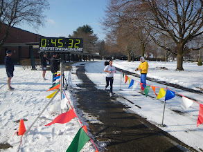 Photo: Local running legend Cheryl Abert finishes strong...