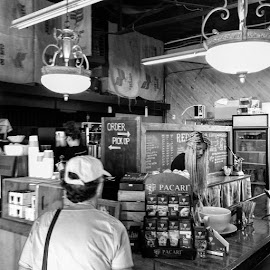 Coffee House by Ernie Kasper - Instagram & Mobile iPhone ( instagram, pickup, black and white, coffee, beverages, candid, drinks, people, bnw_captures, #instagood, lighting, order, servers, serving, bnw_society, bnw )