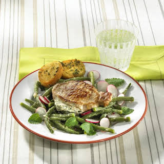 Herbed Cheese Stuffed Pork Cutlets with Green Bean Salad.