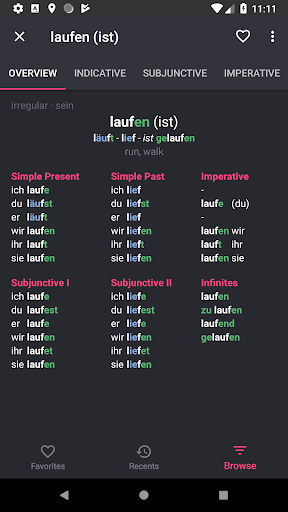 German Verbs Pro: conjugation translation grammar  screenshots 3