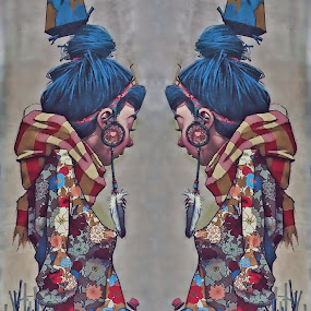 Graffiti - Girl and Bird by Ciddi Biri - Street Art All Street Art ( wallart, girl, bird graffiti, painting, streetart )