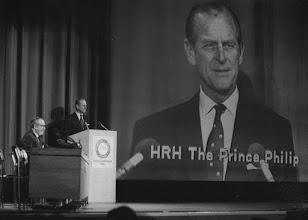 "Photo: DAVOS/SWITZERLAND, FEB 1986 - H.R.H. The Prince Philip, Duke of Edinburgh, President of the World Wildlife Fund International (WWF) addressing the European Management Symposium, the predecessor of the World Economic Forum in Davos in 1986.  Copyright <a href=""http://www.weforum.org"">World Economic Forum</a> (<a href=""http://www.weforum.org"">http://www.weforum.org</a>)"