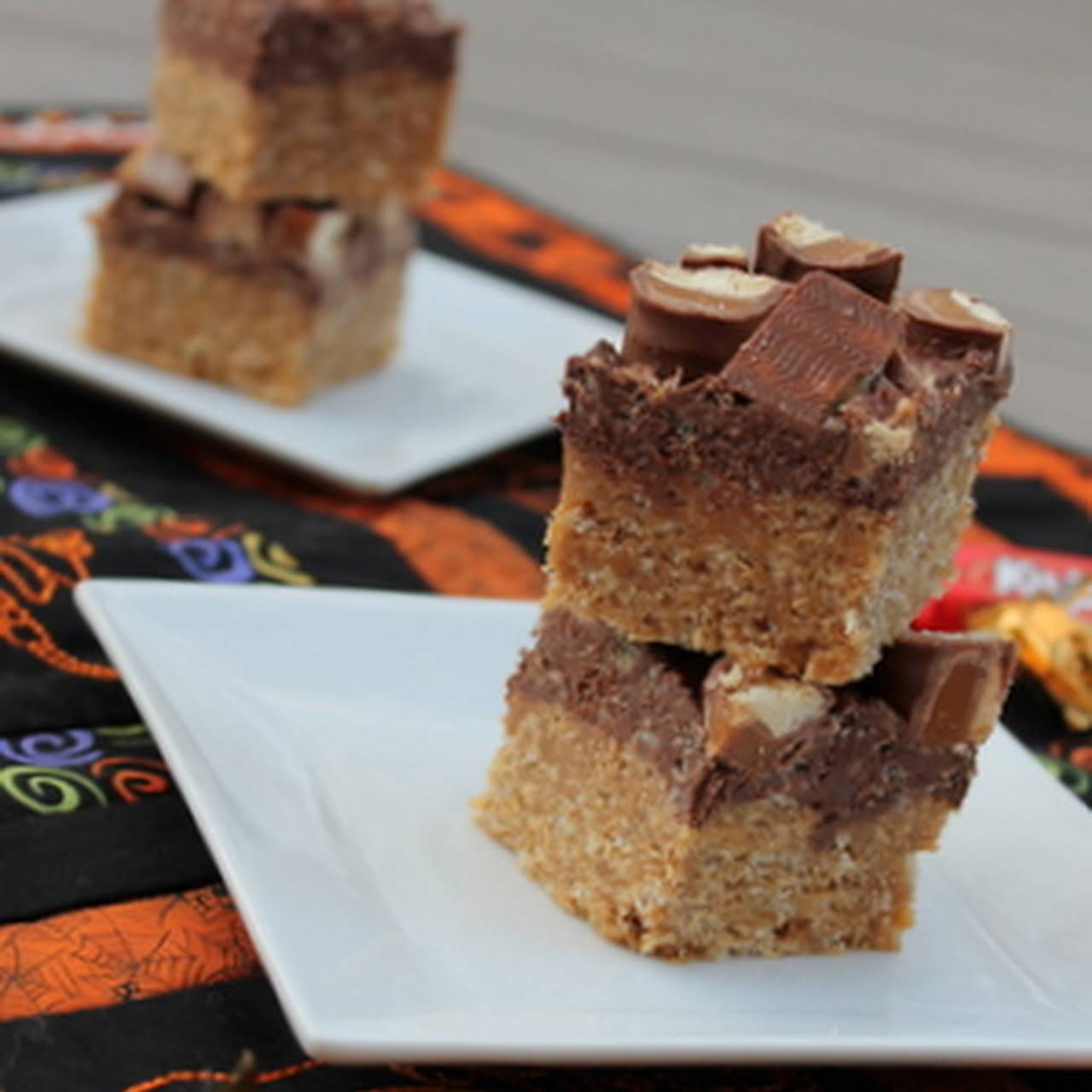 Leftover Candy Peanut Butter Chocolate Crunch Bars