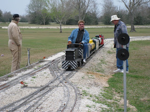 Photo: Ken Smith on left and Bill Howe on right working signals, they stop to talk with Gary Brothers, meet coordinator.  HALS 2009-0228