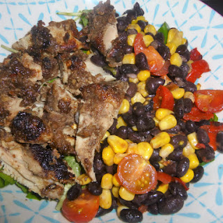 Fruity Caribbean Jerk Chicken and Bean Salad Bowl with a Ginger, Honey and Lime Dressing.