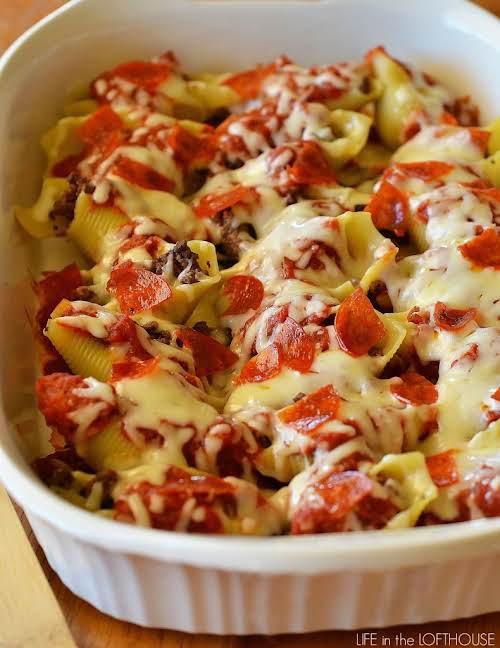 """Click Here for Recipe: Chicken & Broccoli Alfredo Stuffed Shells """"Pasta shells..."""