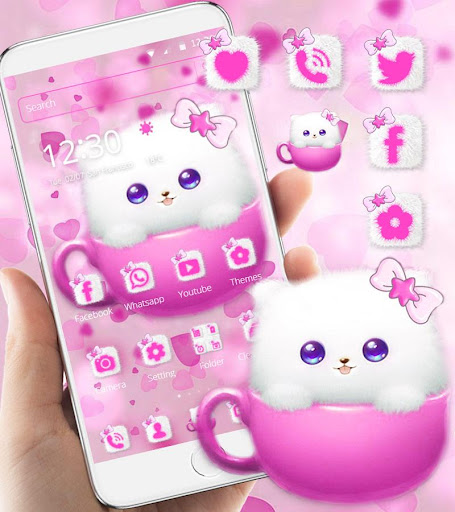 Kitty Theme Cup Cat Wallpaper Apk 1