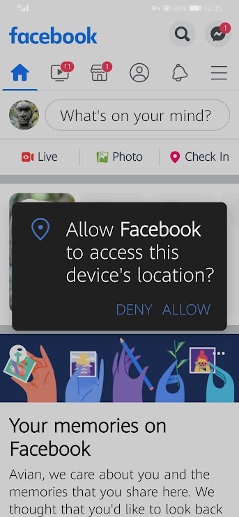 Allow Facebook to Access This Device's Location