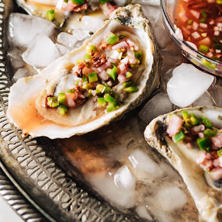 Oysters on the Half Shell With Blood Orange Jalapeno Mignonette.