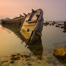 Stranded by Ade Noverzan - Transportation Boats ( stranded, shipwreck, sunset, beach )