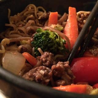 Gluten Free Ground Beef & Noodle Stir Fry.