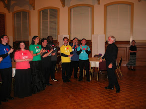 Photo: 20 April 2008: Final Concert; Jeffery Kite-Powell at greeted at reception by singers