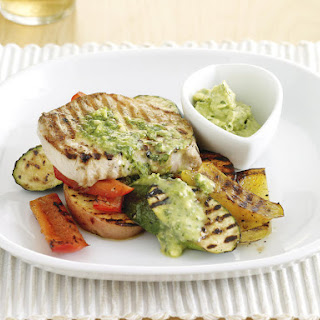Grilled Pork with Pesto Butter and Vegetables