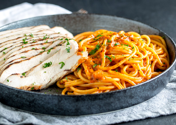 Grilled Chicken Pasta with Roasted Pepper Cream Sauce